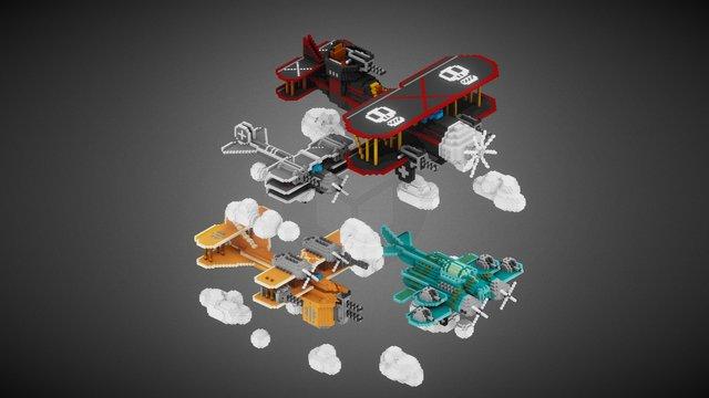 4 Planes 3D Model