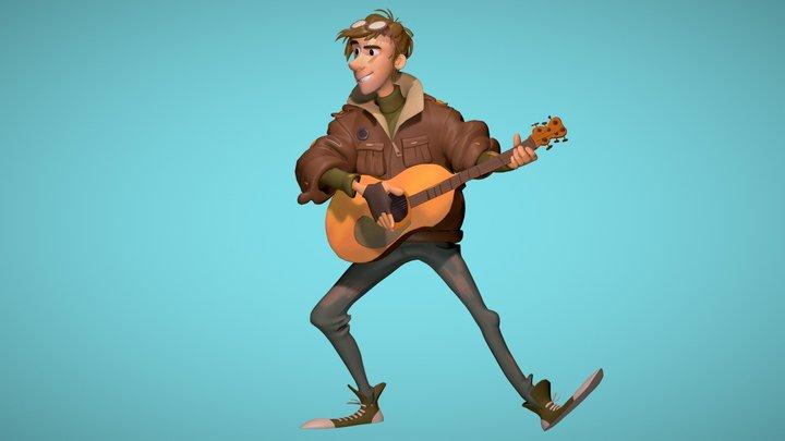 Guitarist 3D Model