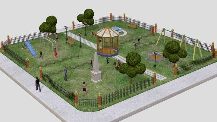 Low-poly Urban Park 3D Model