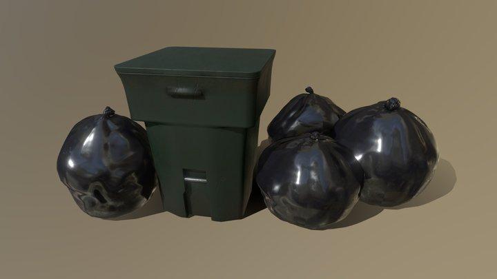 Garbage Bin & Trash Bags 3D Model