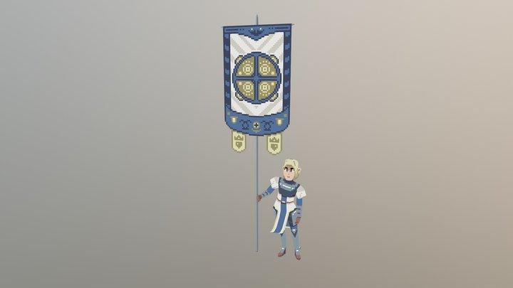 Herald Banner Knight 3D Model