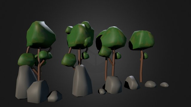 Low Poly tree and rock assets 3D Model