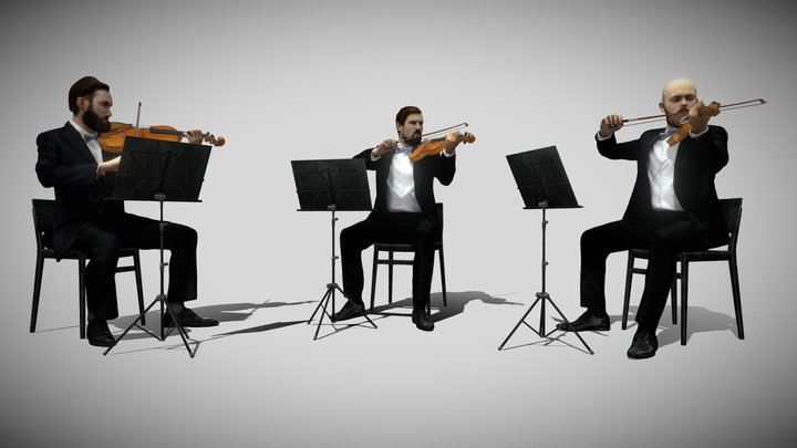 3D Scan Violin Trio 3D Model