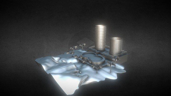 プールサイドジオラマ 3D Model