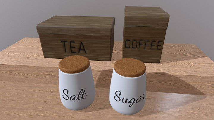 Kitchen Containers for Coffee, Tea, Sugar & Salt 3D Model
