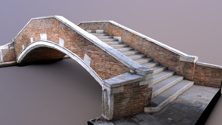 Bridge Ponte De Ca' Marcello, Venice, Italy 3D Model