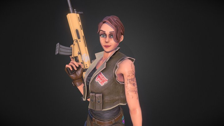 Fortnite Fan - Girl with Weapon - Idle Animation 3D Model
