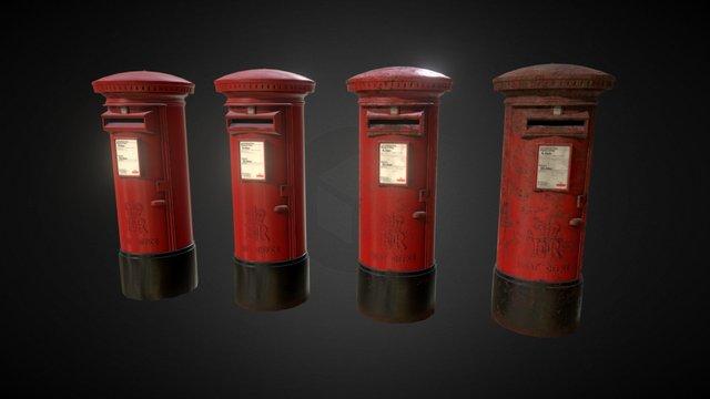 UK Pillar Box - Stages of Deterioration 3D Model