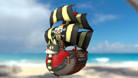 BlackCat Pirate Ship 3D Model