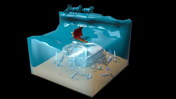 Temple of Poseidon in the Sea 3D Model