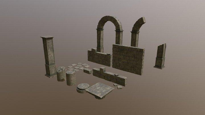 Ancient Ruins Assets Pack 3D Model