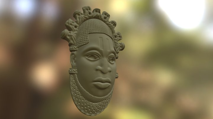African mask of Queen Mother Idia 3D Model