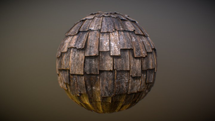 Wood Shingles Material 3D Model