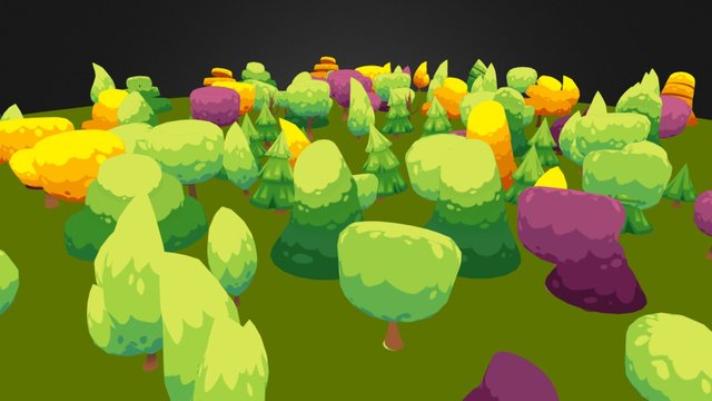 Lowpoly trees pack 3D Model