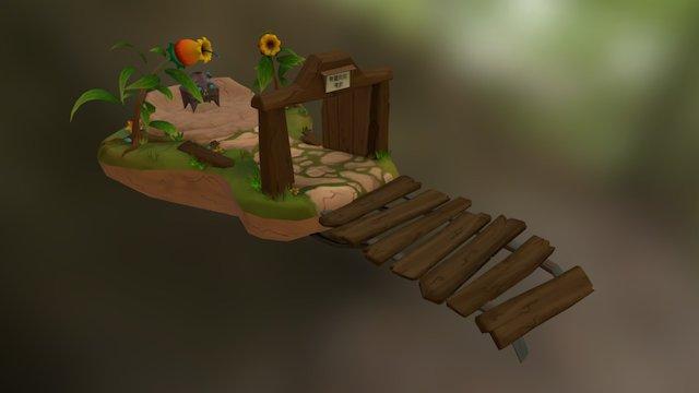 Handpainted treasure island 3D Model