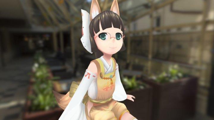 Hayashi_  Inari fox girl (台灣林百貨稻禾神社) 3D Model