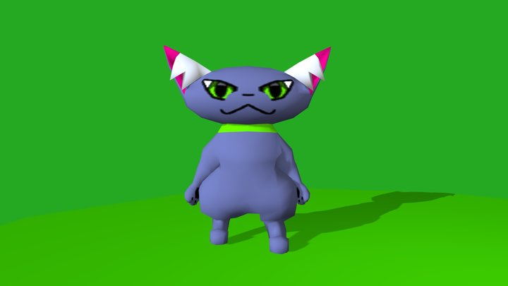 Bipedal Cat Rigged and Animated 3D Model