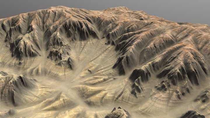 Red Sculpted Plains - Terrain 3D Model