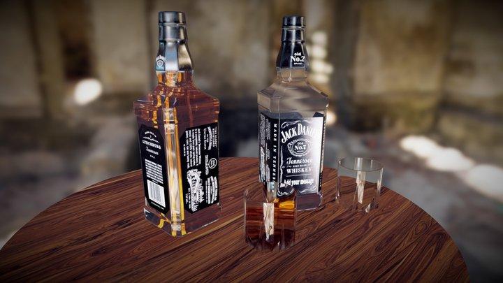 Whisky Bottle Scene 3D Model