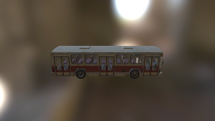 Abandoned Wrecked Bus 3D Model
