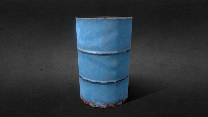 Low Poly Oil Drum 3D Model