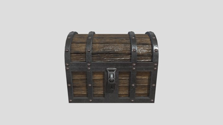 Medieval Low Poly Chest 3D Model