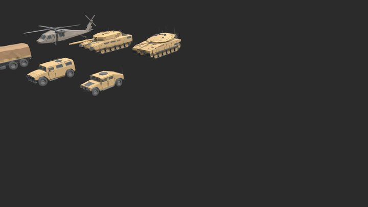 Low Poly Military Vehicles 3D Model