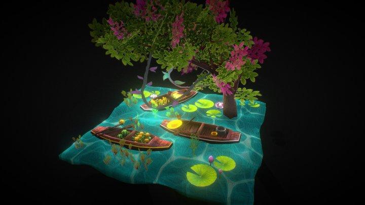 A floating market 3D Model