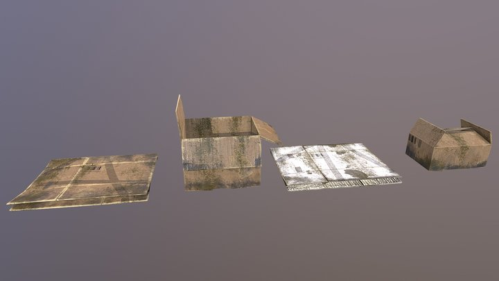 Cardboard Boxes Dirty 3D Model