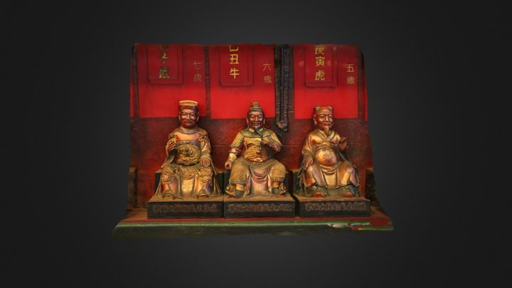 Chinese Temple Statues 3D Model