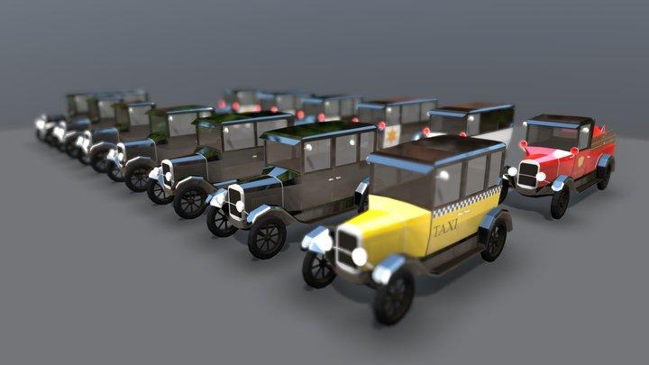 Lowpoly Vintage Car Pack 1920s 3D Model