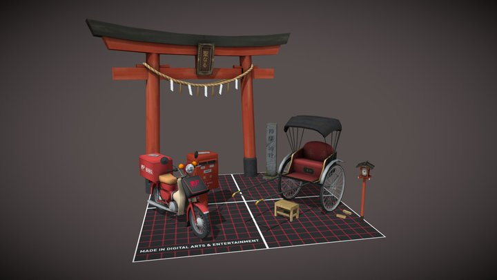 5 low poly props - Kyoto inspired 3D Model