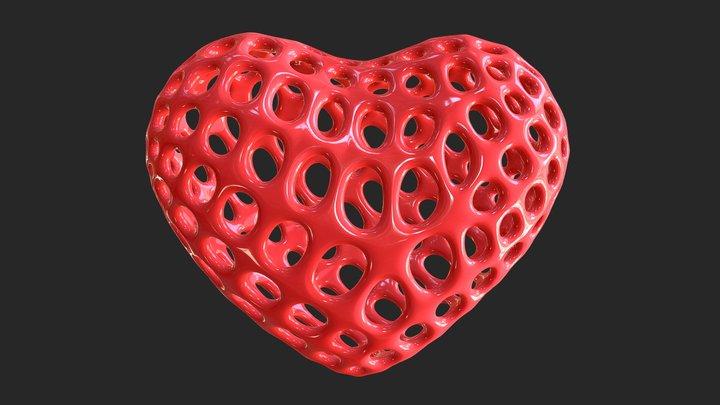 Heart Symbol Wireframe 3D Model