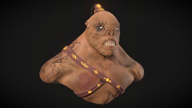 Battle Orc Bust 3D Model