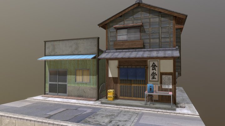 """Shouwa Omise "" 80's shopping street 02 3D Model"