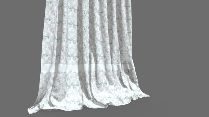 Curtain Fabric with Organic Pattern 3D Model