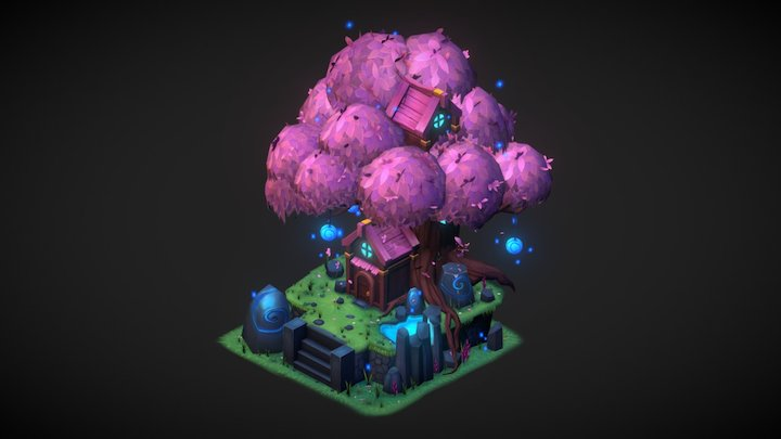 Cherry Blossom Elf tree 3D Model