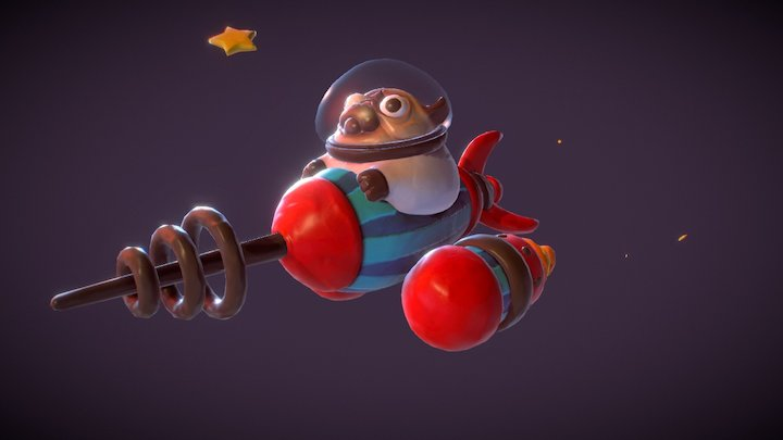 Turbo Clay Rocket Pug! 3D Model