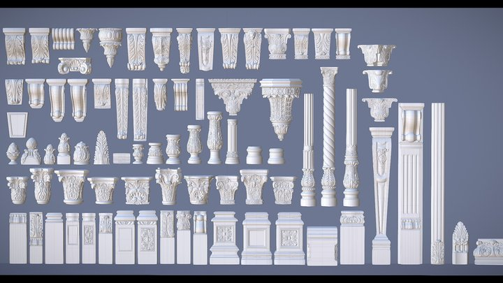 1D Pearlworks elements Showcase (80 items) 3D Model