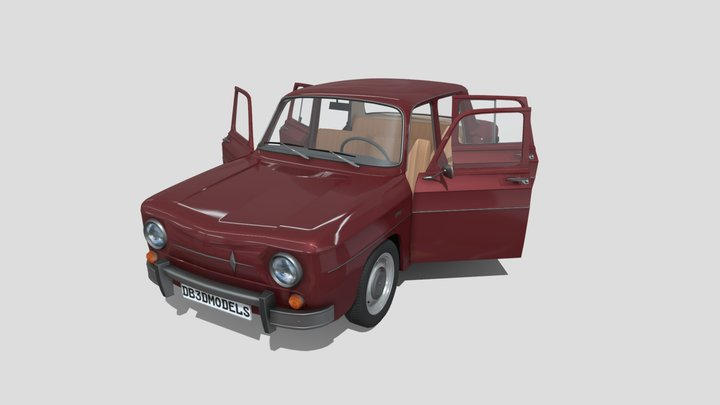 Renault 8 with interior Dark Red 3D Model