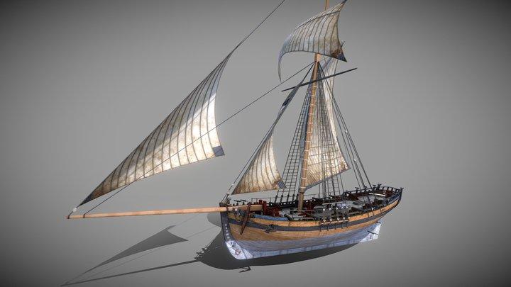 Alert 1777 Sailing Cutter 3D Model