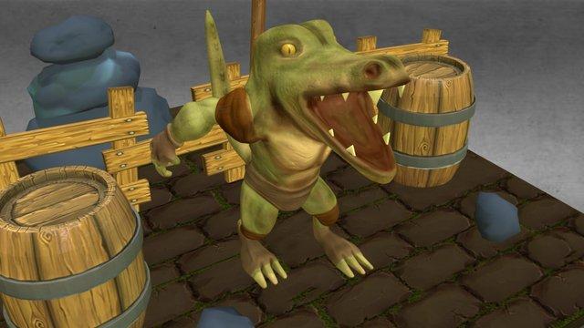 Wild Crocodile Game 3D Model