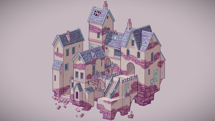 Fantasy Town 3D Model