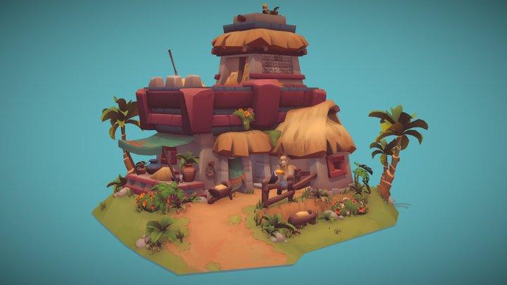 Mayan Alpaca Stable 3D Model