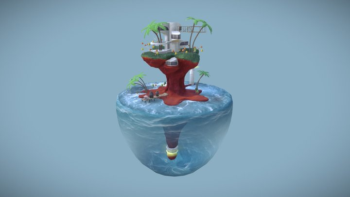 Gorillaz Plastic Beach Floating Island 3D Model