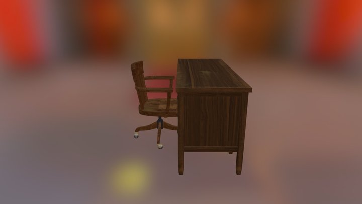 Desk And Chair 3D Model