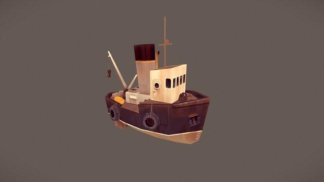 Old rusty longboat 3D Model