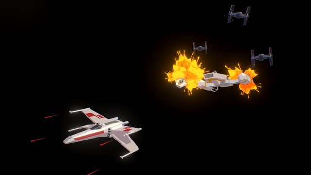 Rebles Vs Tie Fighters 3D Model