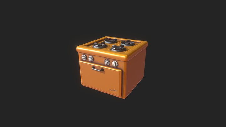 Props . Stylized Diner Stove 3D Model