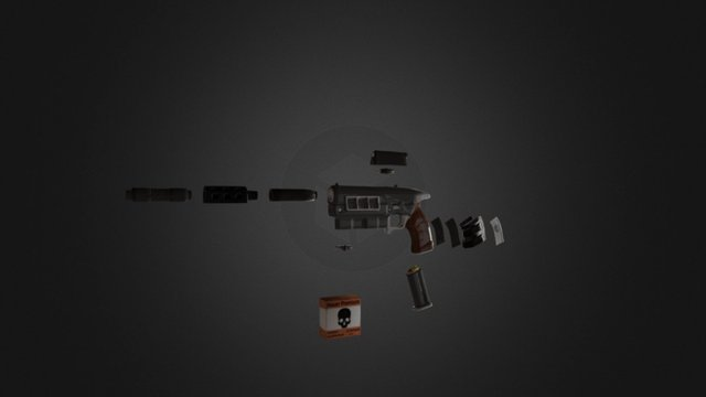 12.7mm Pistol Remake 3D Model